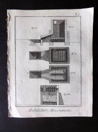 Diderot 1780's Antique Print. Architecture, Maconnerie 06 Masonry
